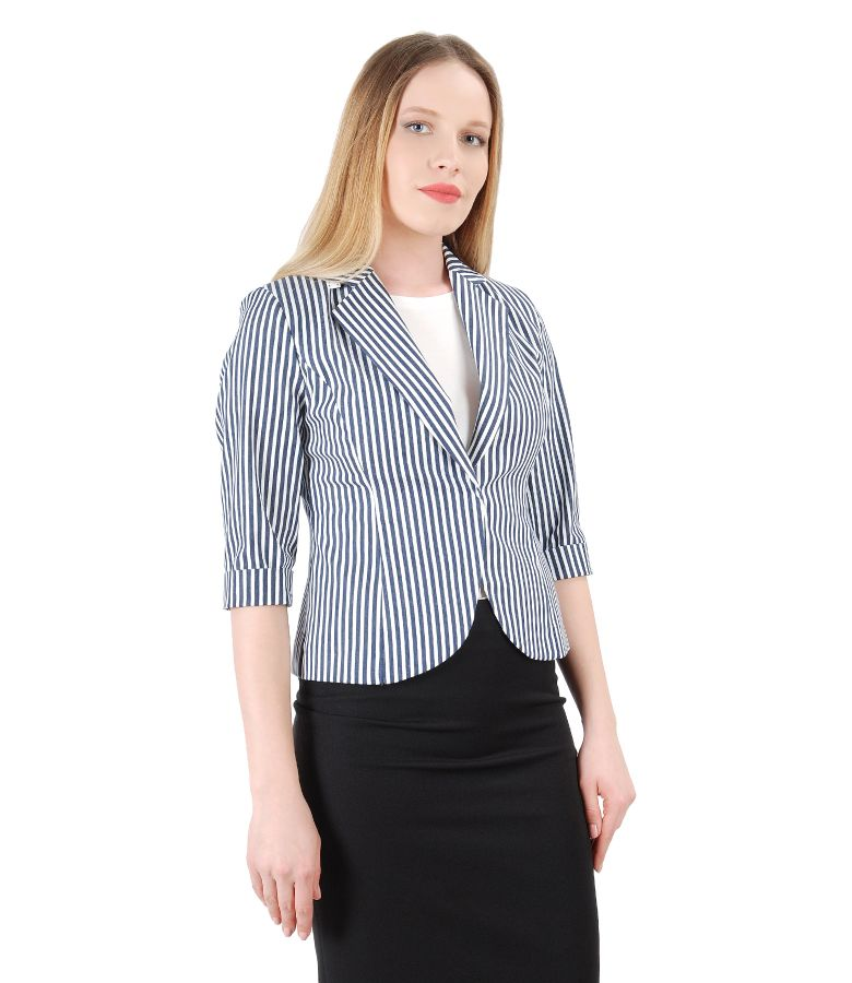Elastic printed cotton jacket with stripes