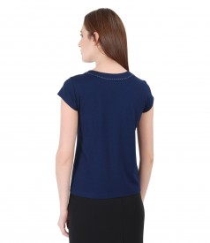 Elastic jersey t-shirt with trim on decolletage