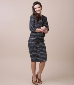 Elegant outfit with dress and jacket made of elastic corrugated cotton