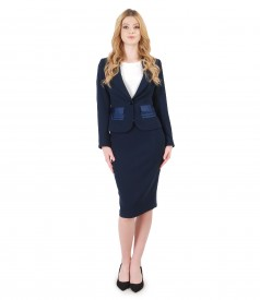 Women office suit with jacket with pockets and tapered skirt
