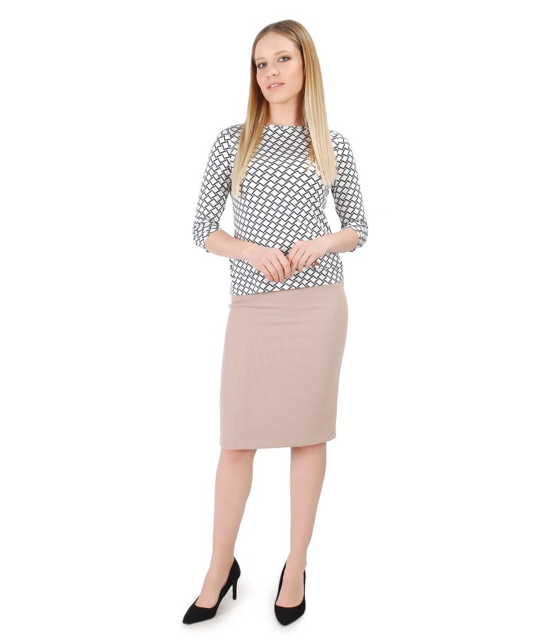 Printed elastic jersey blouse with tapered skirt
