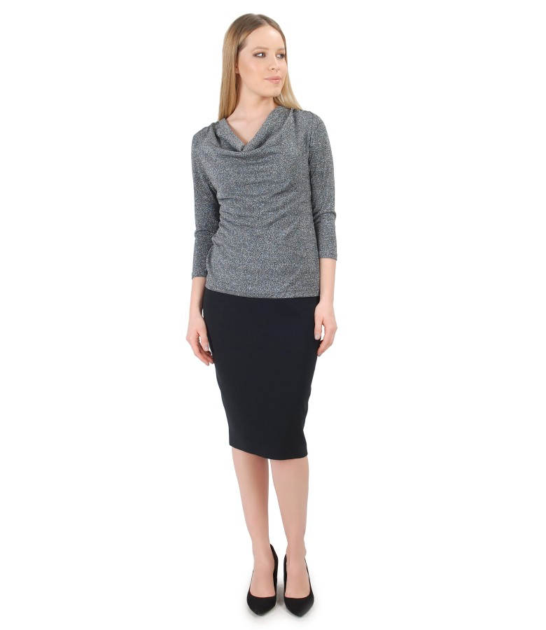 Uni jersey blouse with folds and tapered skirt