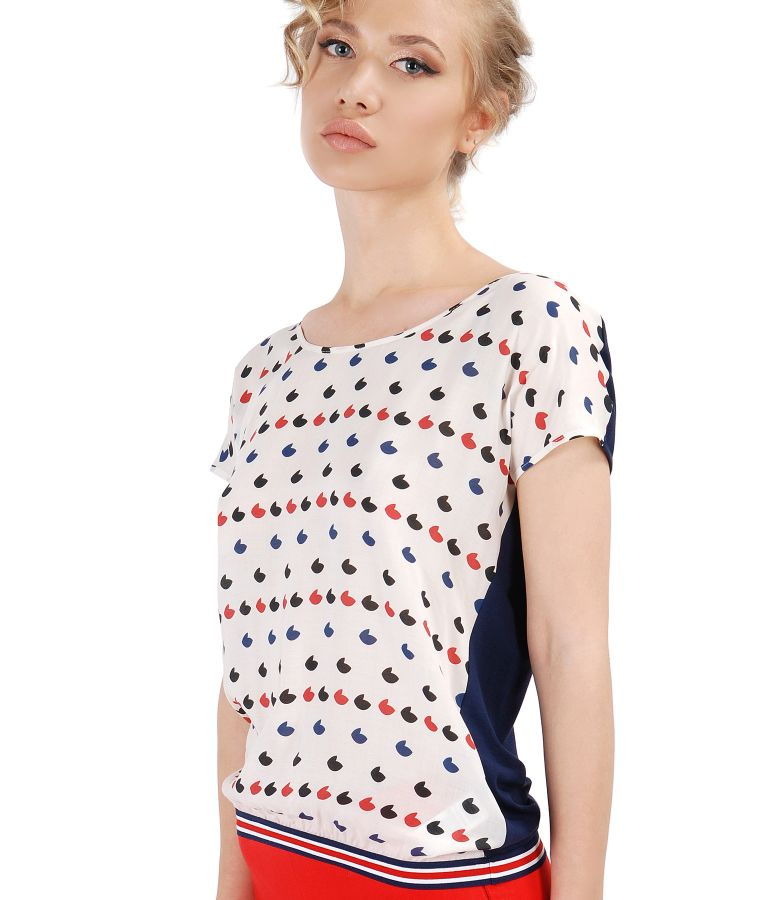 Elastic jersey blouse with front made of printed viscose