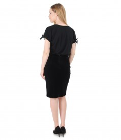 Elegant outfit with printed viscose blouse and velvet tapered skirt