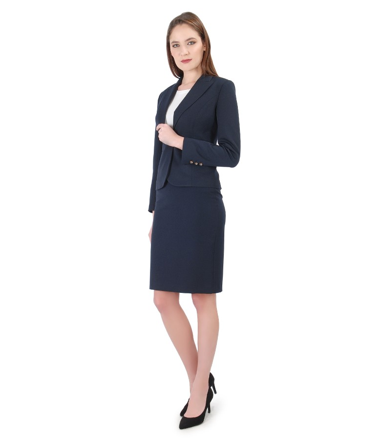 Women office suit with jacket and elastic fabric skirt