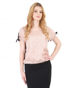 Blouse with front made of printed viscose