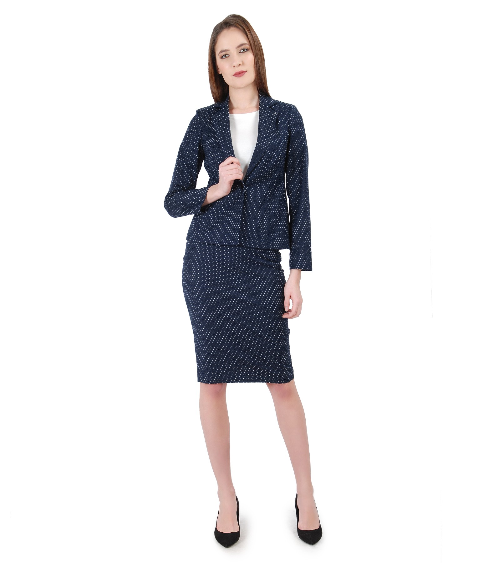 Women Office Suit With Jacket And Skirt Lace Corner