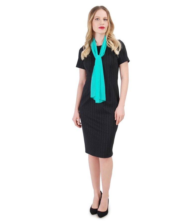Office dress with stripes and uni veil scarf