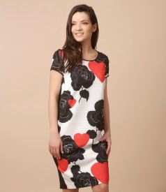 Casual dress with front printed with flowers