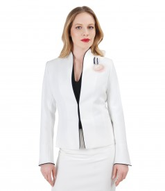 Elegant jacket with navy trim