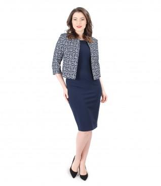 Corrugated elastic cotton jacket with elastic jersey dress