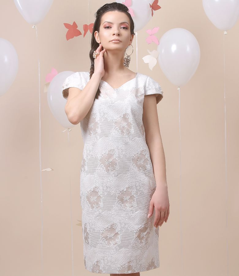 Cotton brocade dress with pearl trim