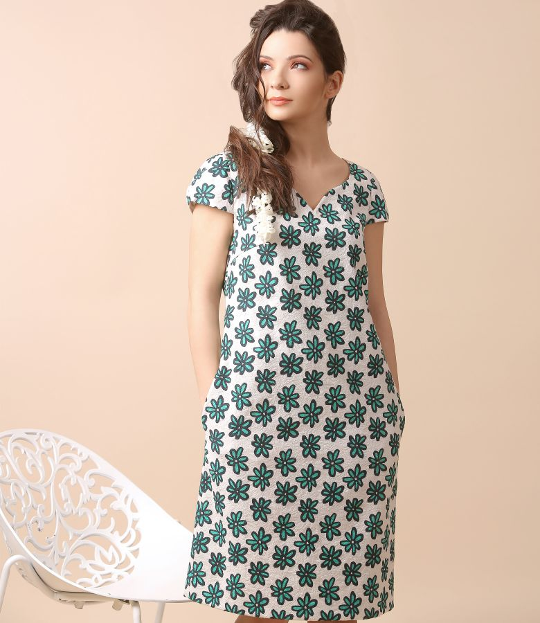Textured cotton dress with floral print
