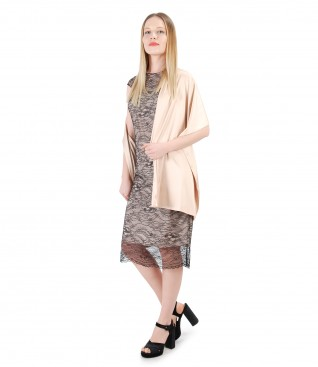 Lace dress with uni satin shawl