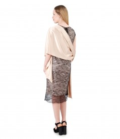 Lace dress with uni satin shawl