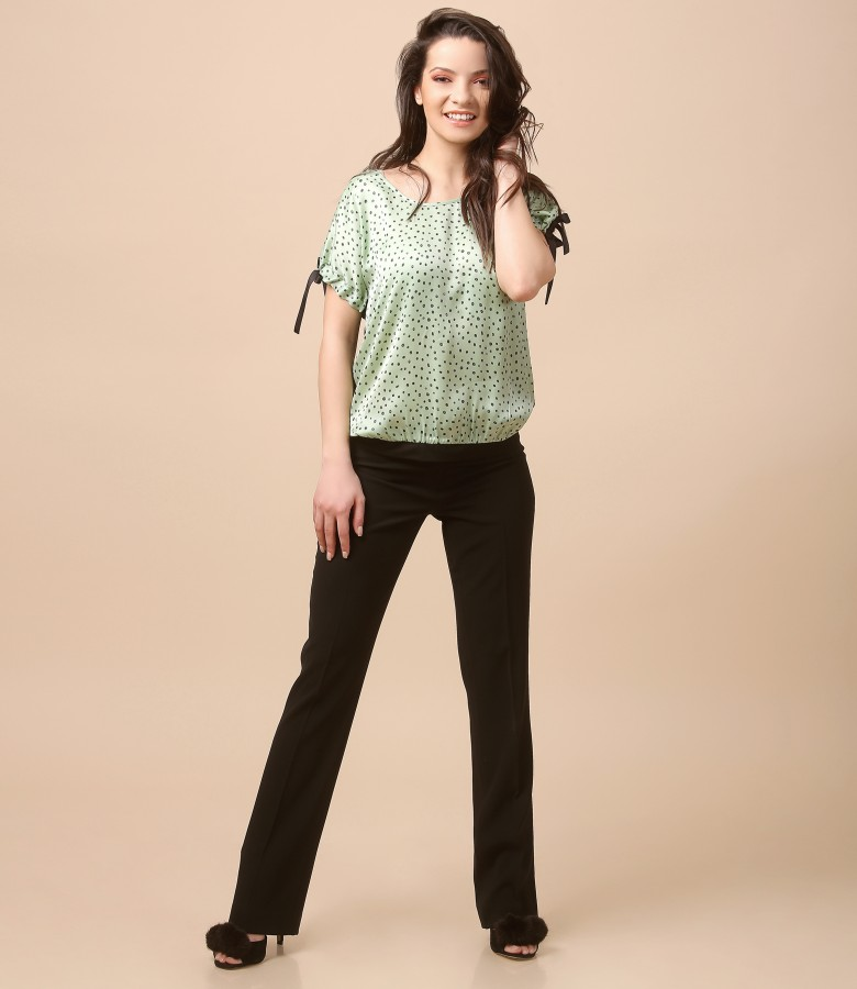 Casual outfit with printed viscose blouse and pants with stripe
