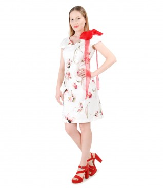 Textured cotton dress with accessory bow