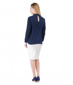 Office outfit with blouse with long sleeves and tapered skirt