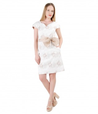 Brocade cotton dress with removable bow