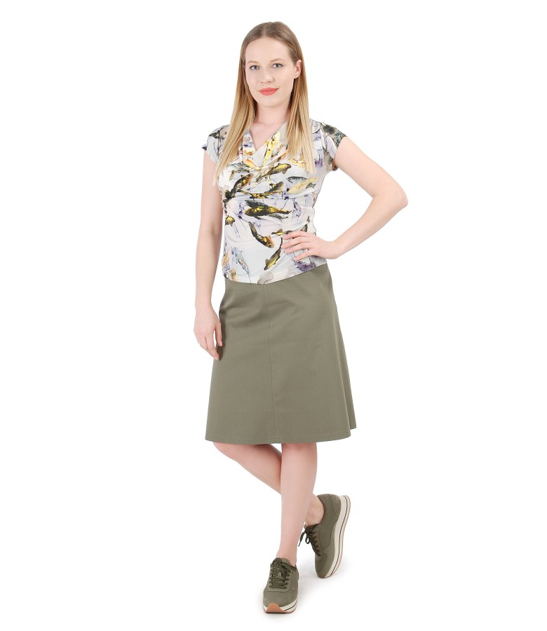 Jersey blouse with folds and textured cotton flaring skirt