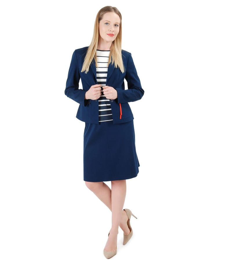 Women office suit with jacket and textured cotton skirt