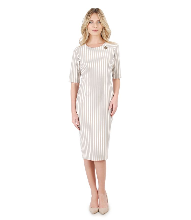 Midi dress made of elastic jersey printed with stripes