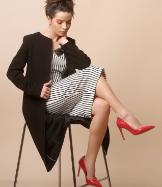 Midi dress made of elastic jersey with stripes and jacket with round decolletage