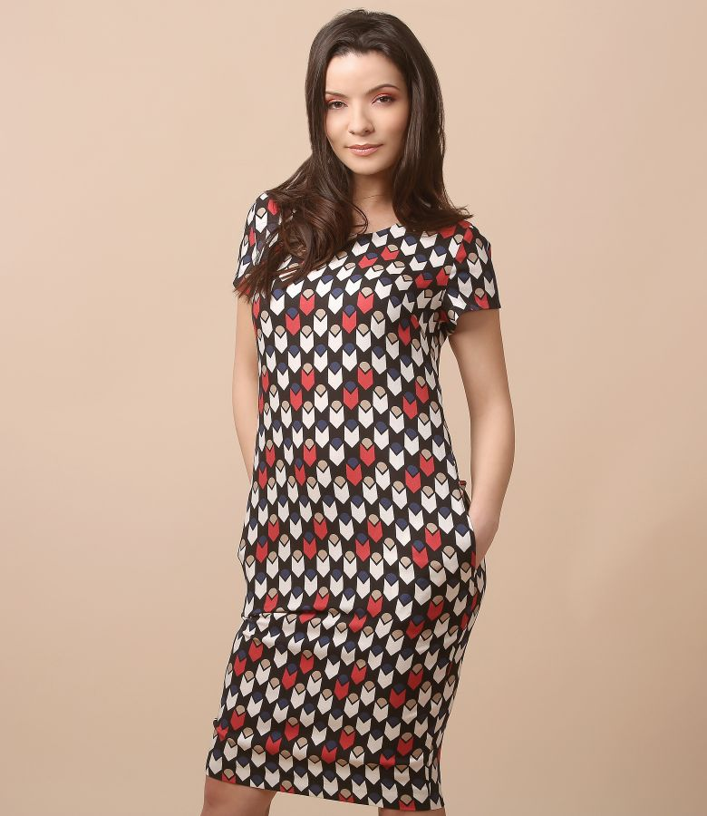Viscose dress with geometric print