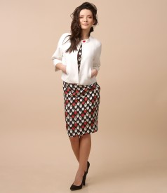 Elegant outfit with viscose dress and bolero