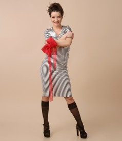 Midi jersey dress with stripes and removable bow