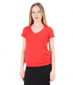 Elastic jersey blouse with V decolletage