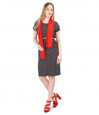 Printed viscose dress with uni veil scarf