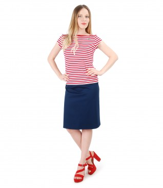 Elegant outfit with jersey blouse printed with stripes and flaring skirt