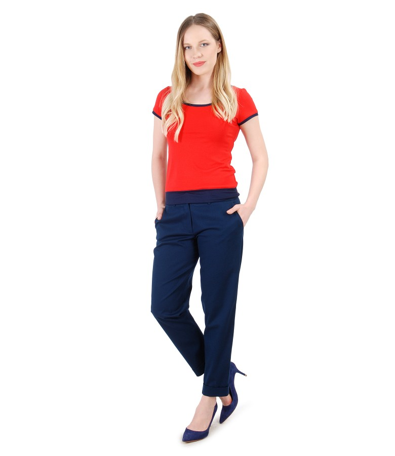 Elegant outfit with textured cotton pants and jersey blouse