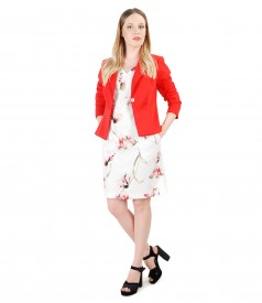 Dress with floral print and textured cotton jacket