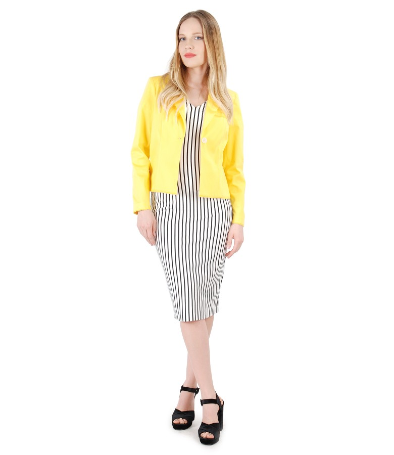 Jersey dress with stripes and textured cotton jacket