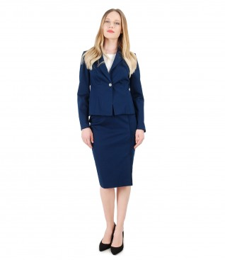 Office womens suit with jacket and skirt with fringes