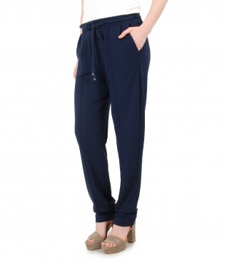 Wide pants with elastic waist with crystals from Swarovski