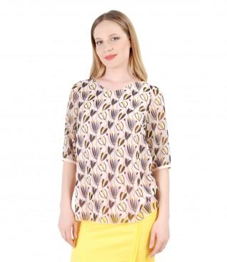Floral printed veil blouse