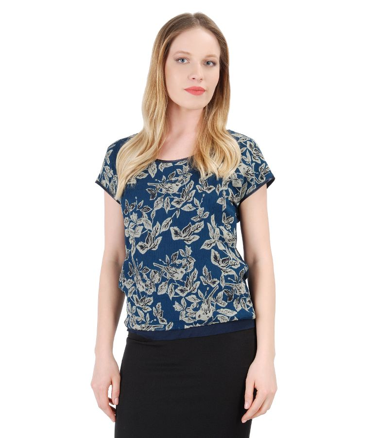 Blouse with front made of printed silk