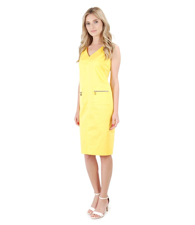 Textured cotton dress with pockets