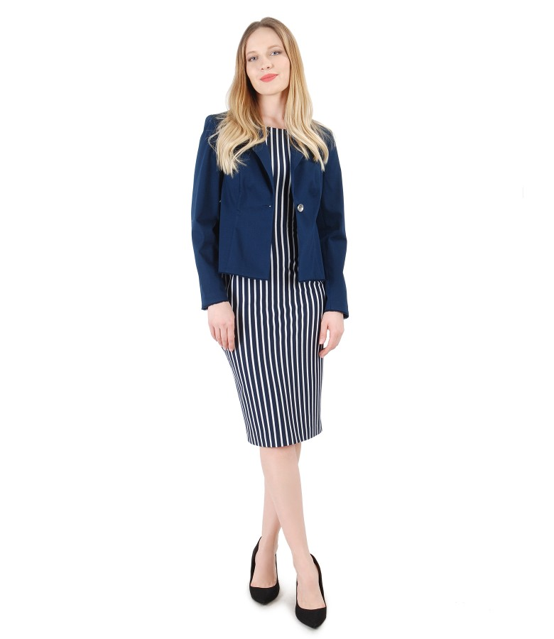 Pencil dress with stripes and textured cotton jacket