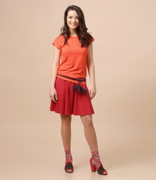 Flaring skirt with elastic belt with bow