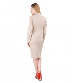 Office women suit with skirt and textured cotton jacket