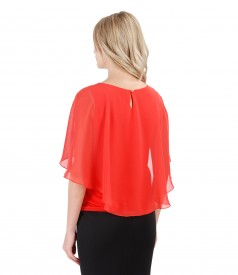 Elegant blouse with veil cape
