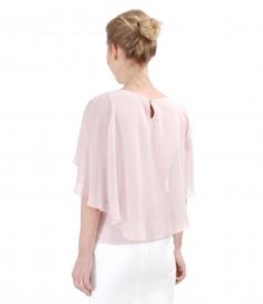 Elegant blouse with veil cape