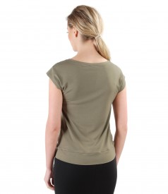 Elastic jersey t-shirt with veil trim