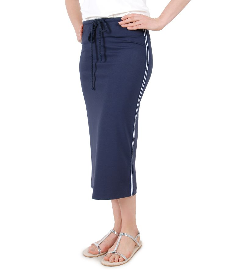 Elastic jersey midi skirt with side stripes trim