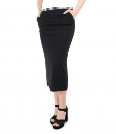 Jersey tapered midi skirt with elastic in stripes and pockets