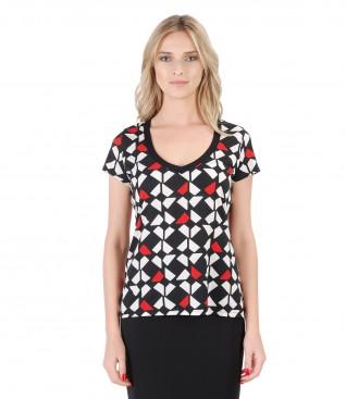 Jersey t-shirt with geometric print